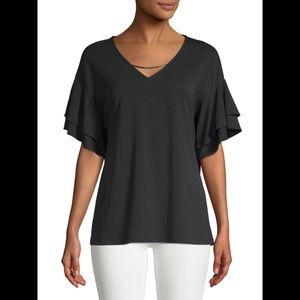 Calvin Klein Double-Ruffle Blouse- Black